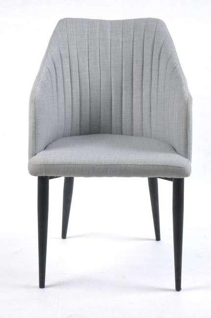 butaca salon comedor gris claro tela y patas metal 612SI0791