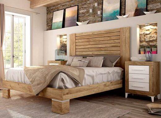 cama grande cabecero matrimonio con 2 mesitas con patas nordico vintage 076JO2021