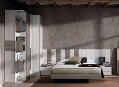Cabecero de lamas verticales con 2 mesitas y base para cama matrimonial