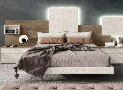 Cabecero original para cama de matrimonio asimético con leds +  2 mesitas de noche