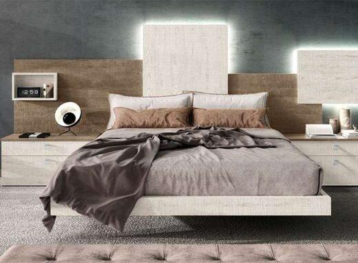original cabecero cama matrimonio asimetrico leds y mesitas noche 089SM0011