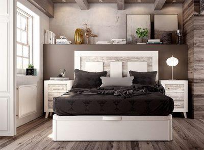 Cabecero y mesitas de noche color blanco-vintage para cama matrimonio (+ canape opcional)