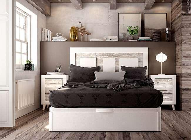 Cabecero y mesitas blanco vintage cama matrimonio canape opcional - Cabeceros y mesitas de noche ...