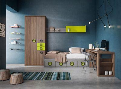 Cama baja con cajones de 90×190 cm con arcón y escritorio juvenil (armario y estantería opcionales)