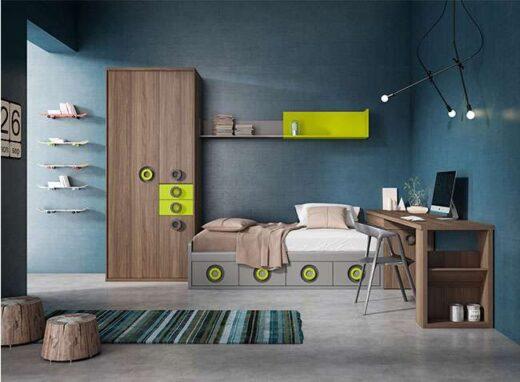 cama con cajones baja 90x190 con arcon y escritorio 024UP20311