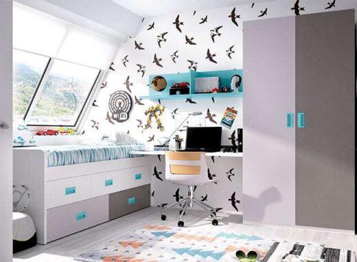 juvenil cama compacta cajones y escritorio 006ON011