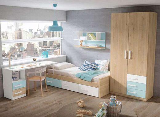 juvenil cama con cajones debajo y mesa estudio 040JU0151