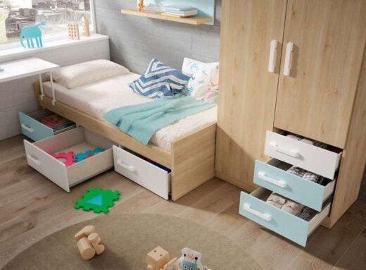 cama juvenil armario opcional con cajones debajo y mesa estudio 040JU0152