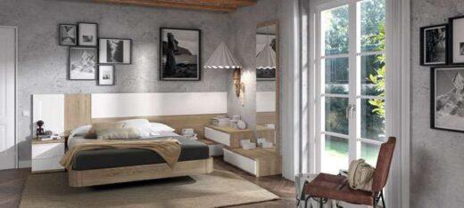 flotante cama matrimonio cabecero mesitas madera asimetrico 015OR0013
