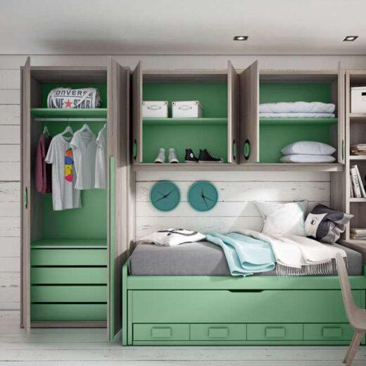 cama nido compacta verde juvenil cajones armario opcional 024UP1044