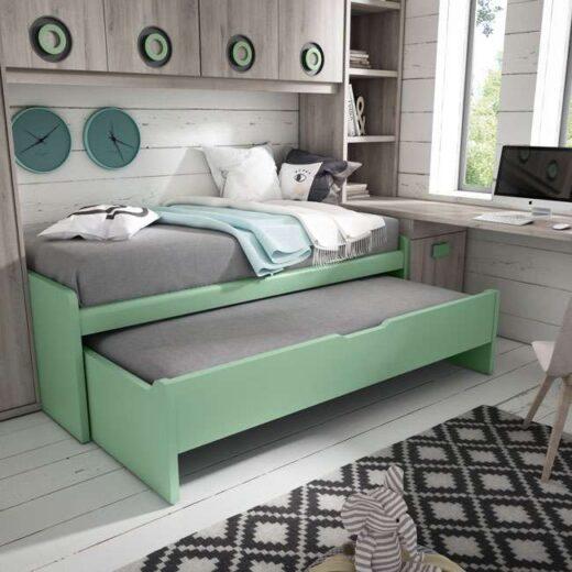 cama nido compacta juvenil cajones verde estanteria libreria opcional 024UP1043