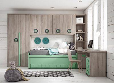 Cama nido compacta juvenil con cajones color verde con mesa de estudiar + puente y armario (opcionales)