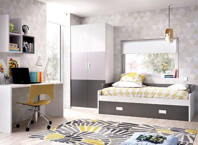 Dormitorio juvenil cama nido con somier de arrastre y escritorio moderno