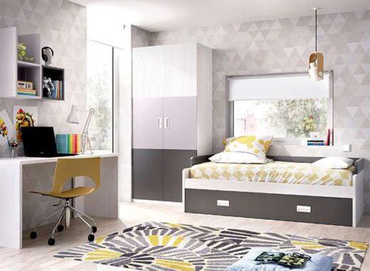 cama nido moderna con somier de arrastre y escritorio barata 006ON0301