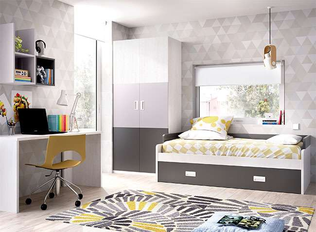 Dormitorio juvenil cama nido con somier de arrastre escritorio - Somier cama nido ...
