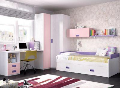 Dormitorio juvenil cama nido con somier de arrastre y respaldo con escritorio