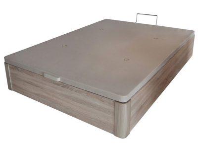 Canapé de madera con esquinas redondas para cama de matrimonio