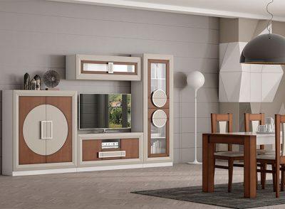 Muebles de salón comedor estilo moderno y sofisticado en chapa de roble barnizada