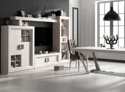 Composición muebles salón comedor modernos de alta calidad en blanco veteado