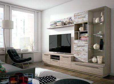 Composición salón integrado con mueble para televisión + armario + vitrina + estantería acabado vintage