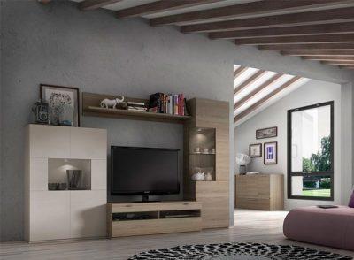 Composición salón modular con mesa de televisión y muebles con expositor