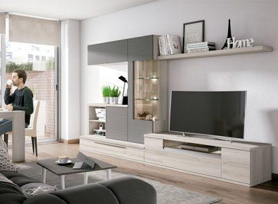 Conjunto de muebles salón moderno de composición irregular en colores gris y madera clara