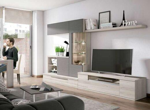 conjunto muebles salon irregular moderno gris madera 040SA0261