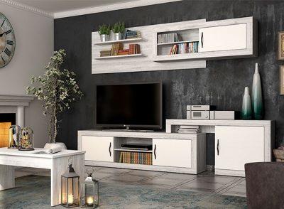 Conjunto original de muebles salón modulares en color blanco vintage