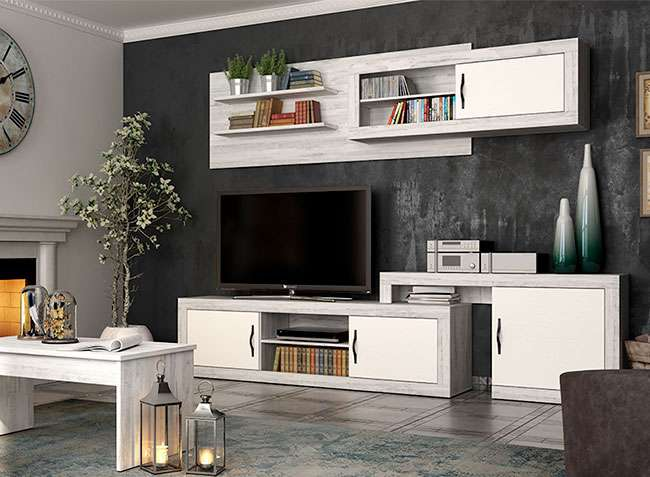 Conjunto mueble sal n modular original blanco vintage - Salon original ...