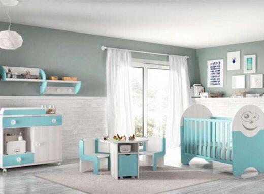 cuna habitacion bebe celeste y cambiador comoda con ruedas 259SM0061
