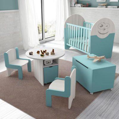 Cuna celeste + cambiador cómoda con ruedas para habitación de bebé