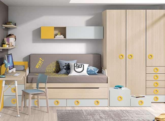 dormitorio juvenil cama nido con escritorio extraible
