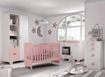 Dormitorio bebé blanco y rosa con cuna de ruedas y comodín-cambiador con patas (Disponible en otros colores)