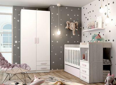 Dormitorio infantil con cuna compacta convertible con cajón y cambiador integrado + armario (opcional)