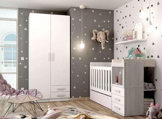 dormitorio infantil cuna compacta convertible cajon cambiador integrado 076LI0331