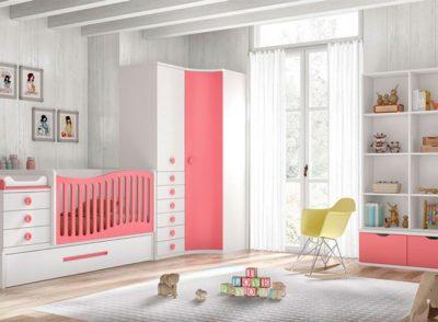 Dormitorio infantil convertible con conjunto cuna convertible con cama de arrastre y cambiador