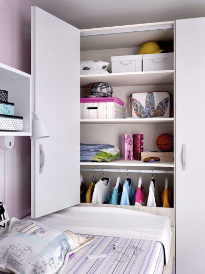 Dormitorio juvenil compacto cama nido y somier de arrastre y escritorio con cajonera color seda y mora