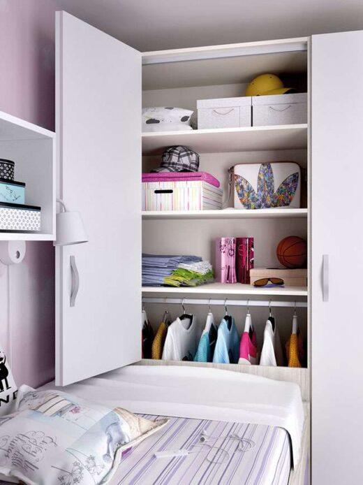 dormitorio juvenil compacto escritorio con cajonera armario 006ON0082
