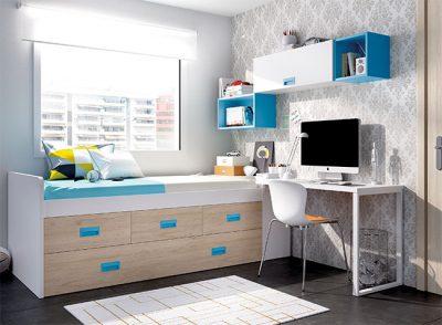 Dormitorio juvenil compacto cama con somier, módulo de tres contenedores y arcón más escritorio color seda