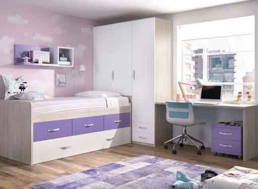 dormitorio juvenil compacto doble cama cajones y escritorio 006ON0081