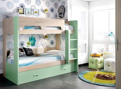 Dormitorio juvenil con litera triple con cama nido de arrastre