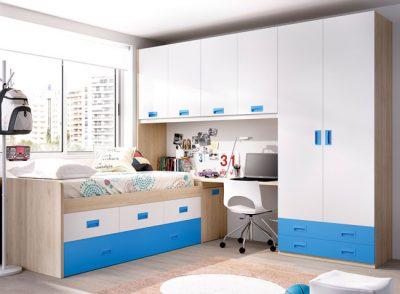 Dormitorio juvenil moderno cama con somier modulo de tres contenedores y arcón con escritorio