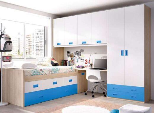 dormitorio juvenil cama con somier contenedores arcon con escritorio 006ON0091