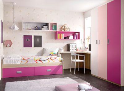 Dormitorio juvenil niña cama con almacenaje y escritorio esquina tonos rosas