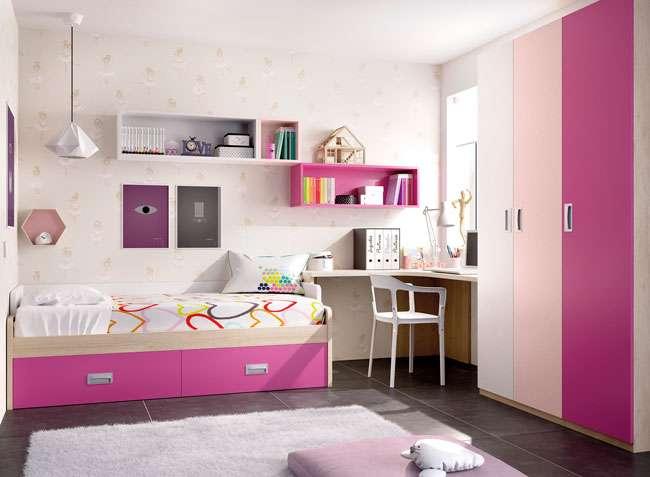 Dormitorio juvenil ni a cama con almacenaje y escritorio esquina - Dormitorio juvenil nina ...