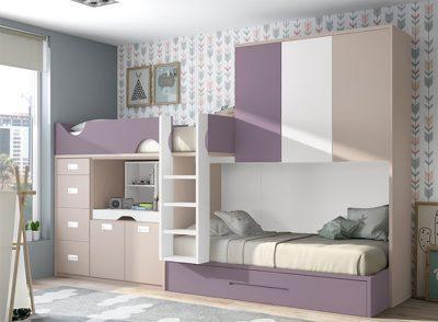 Dormitorio juvenil tren 3 camas moderno con cajones + puente (opcional)
