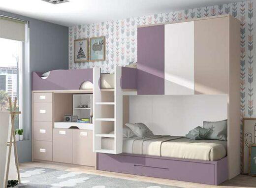 Dormitorio Juvenil Tren 3 Camas Moderno Con Cajones