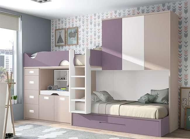 Dormitorio juvenil tren 3 camas moderno con cajones for Camas infantiles diseno moderno