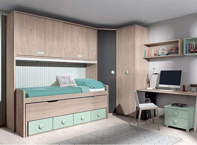 Dormitorio puente juvenil cama nido cajones y escritorio for Habitacion juvenil cama nido
