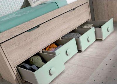 Dormitorio juvenil compacto con cama nido y cajones + puente 2 puertas (opcional)